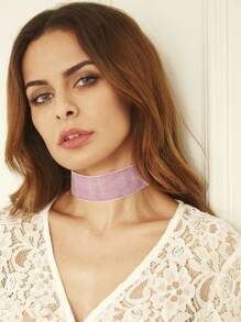 Light Purple Ribbon Wide Choker Necklace