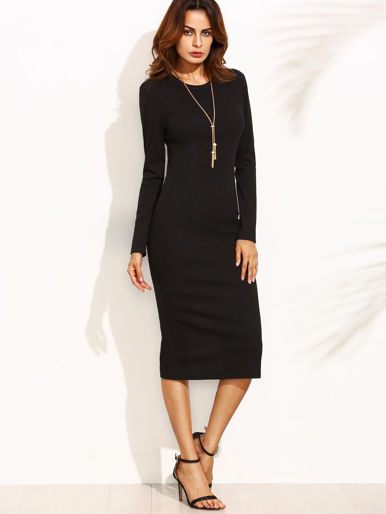 Фото Split Back Below-Knee Hemlines Sheath Dress. Купить с доставкой