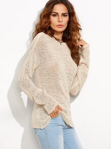 Apricot Boat Neck Drop Shoulder Loose Knit Sweater
