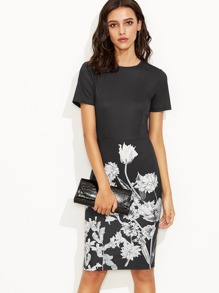Black Floral Print Short Sleeve Sheath Dress