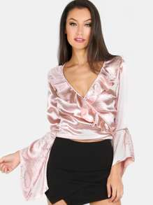 Ruffled Wrap Over Crop Top CHAMPAGNE