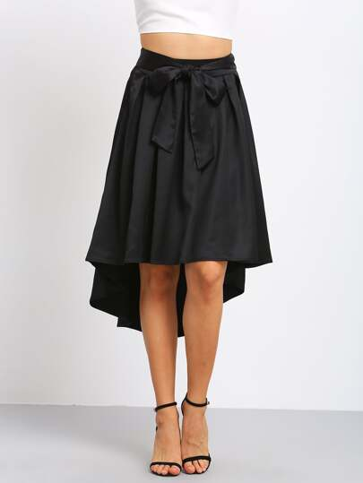 Black Bow Tie Waist High Low Pleated Skirt