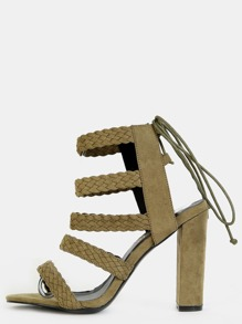 Open Toe Braided Heels OLIVE