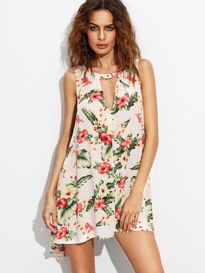 Floral Print Cut Out Front Sleeveless Shift Dress