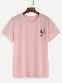 T-shirt imprimé geste manche courte - rose