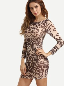 Multicolor Print Long Sleeve Bodycon Dress