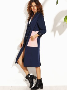 Navy Contrast Pockets Split Back Trench Coat