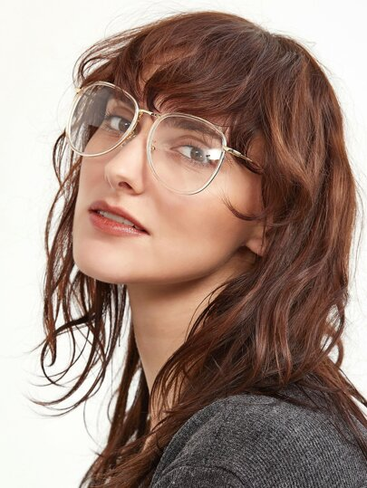 Clear Lens Gold Frame Glasses : Gold Metal Frame Clear Lens Retro Style Glasses -SheIn ...