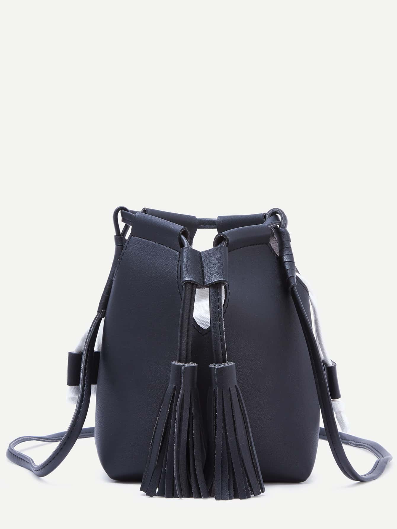 Black Tassel Drawstring PU Bucket Bag
