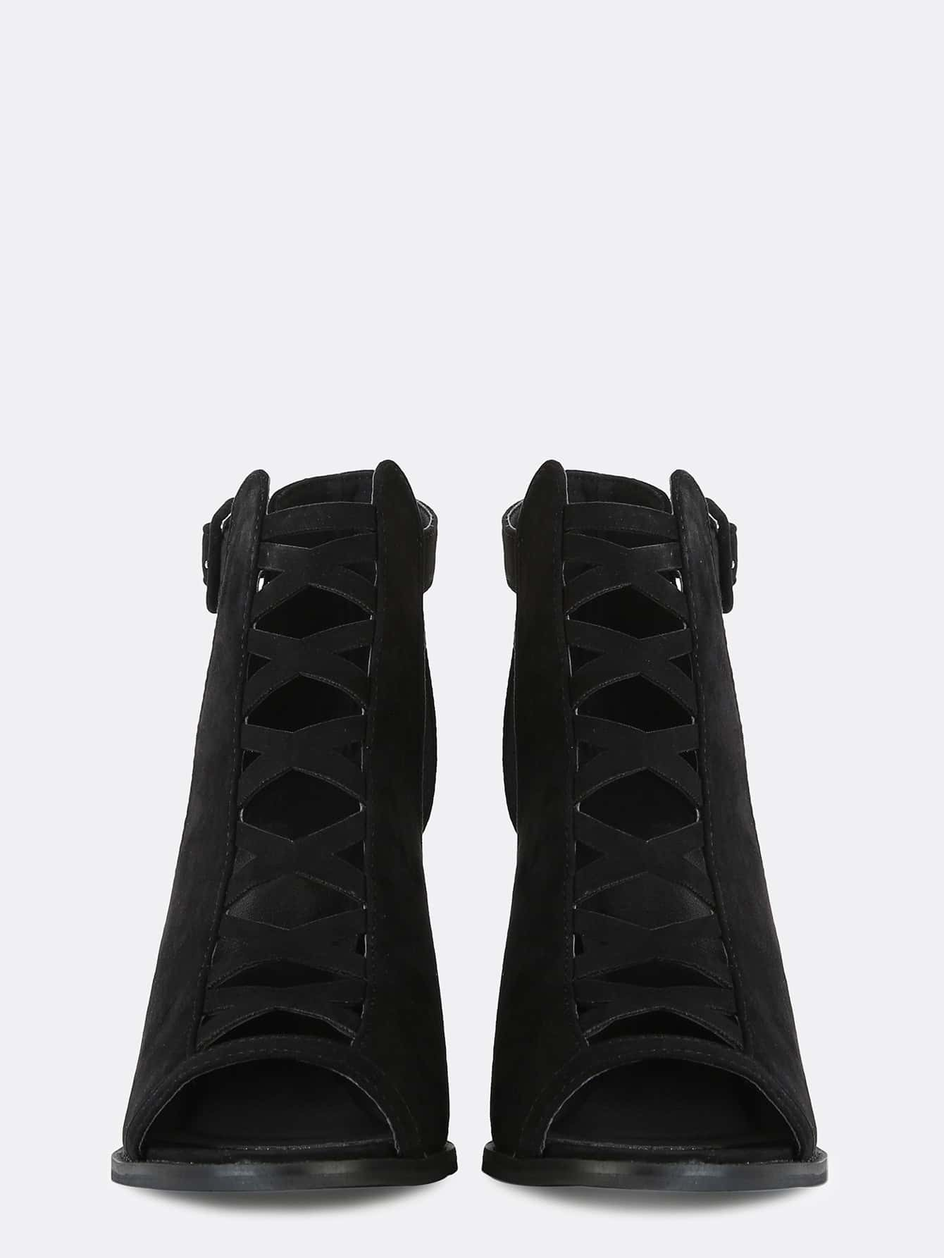 suede cut out ankle boots black shein sheinside