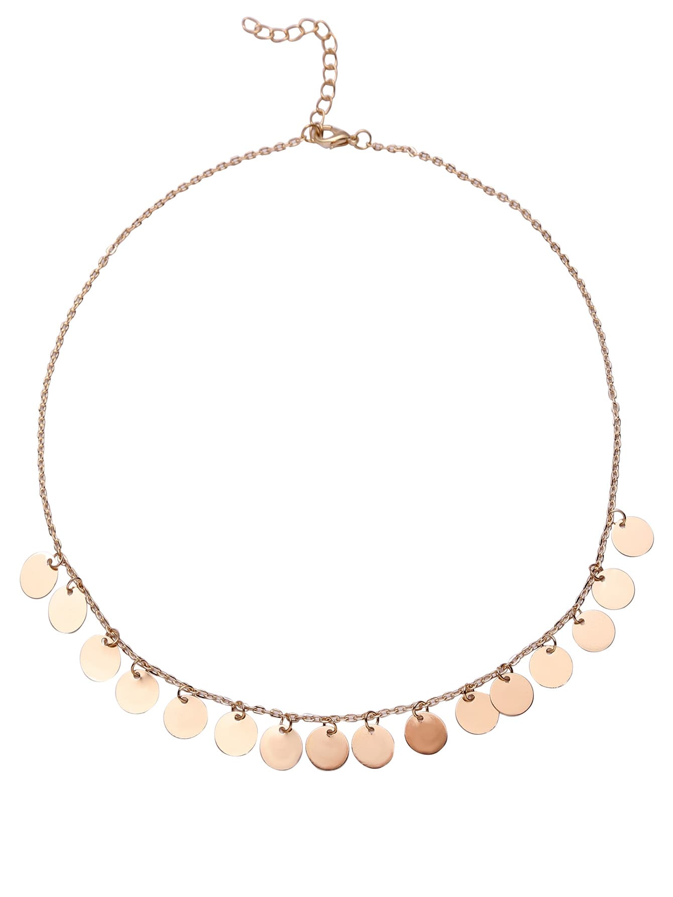 Gold Coin Fringe Delicate Chain Necklace