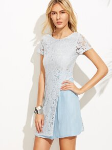 Blue Lace Overlay Pleated A-Line Dress