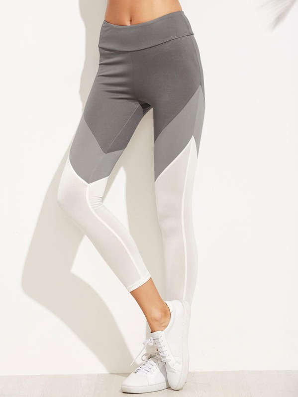 Color Block Wide Waistband Leggings, Yana