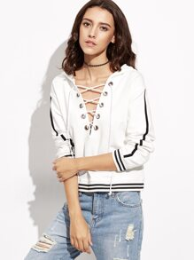 White Striped Trim Lace Up Hoodie