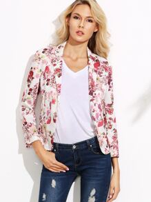 White Floral Print Open Front Blazer