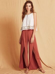 Brown Split Side Wide Leg Pants