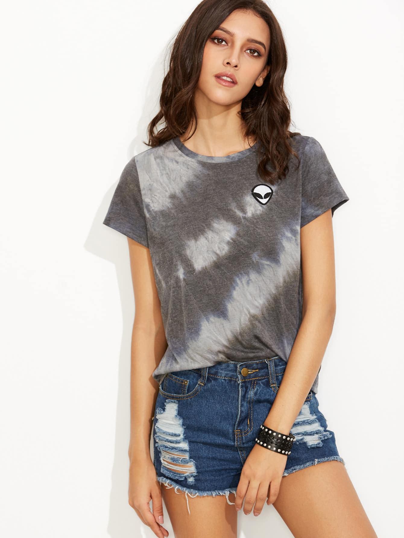 Tie Dye Print Alien Patch T-shirt turndown collar tie dye ink painting print shirt