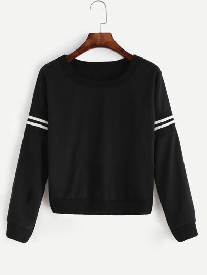 Black Varsity Striped Crop Sweatshirt
