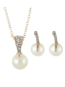Simple Imitation Pearl Pendant Necklace Stud Earrings Set