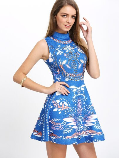 Blue Crew Neck Aztec Print Flare Dress