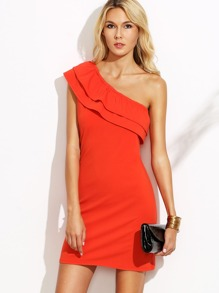 Orange One Shoulder Ruffle Sheath Dress