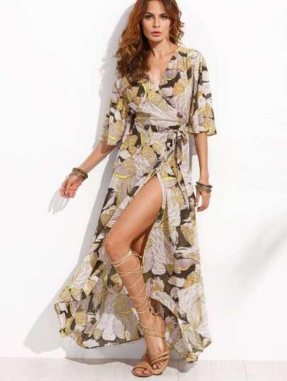 Multicolor Wrap Front Maxi Dress