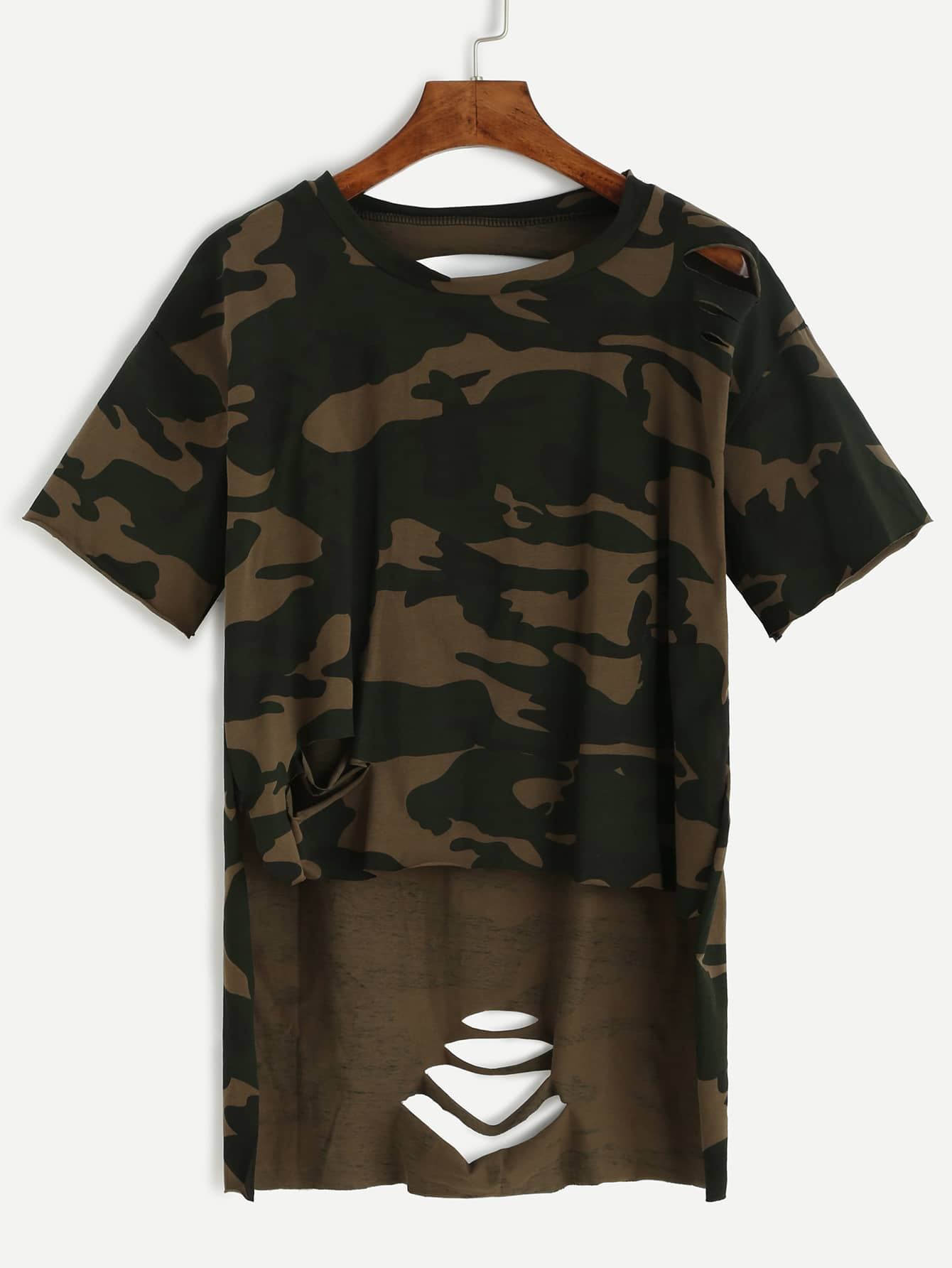 Фото Camo Print High Low Distressed T-shirt. Купить с доставкой