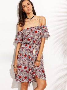 Multicolor Floral Print Drawstring Waist Fringe Dress
