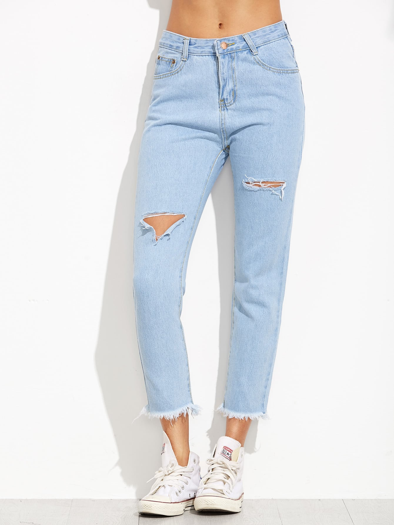Ripped Frayed Hem Cropped Jeans