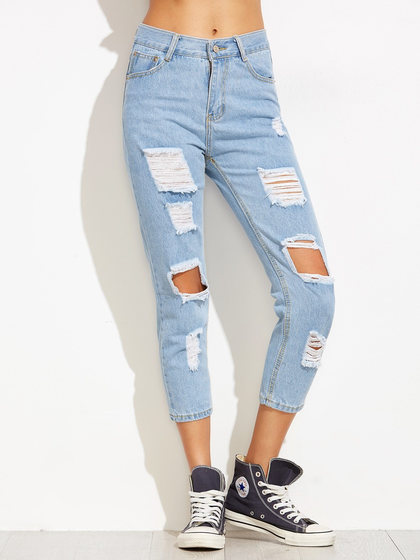 Blue Distressed Ankle JeansBlue Distressed Ankle Jeans<br><br>color: Blue<br>size: S,XL
