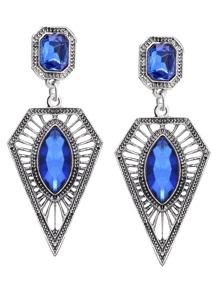 Blue Rhinestone Geometric Hollow Out Drop Earrings