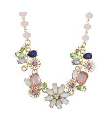 Rhinestone Flower Shape Necklace