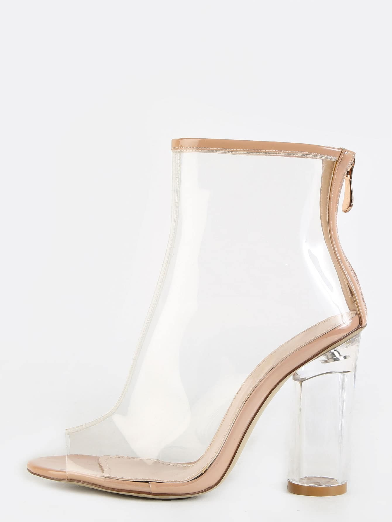 Peep toe crystal heel transparent ankle boots clear shein for Crystal trasparente