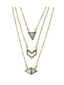Rhinestone Turquoise Triangle Geometric Necklace