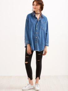 Blue Drop Shoulder Pocket Curved Hem Denim Shirt
