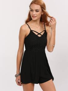 Lattice Neck Lace Overlay Cami Romper - Black