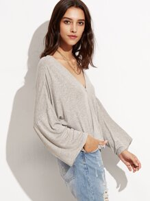 Drop Shoulder Surplice Drape T-shirt