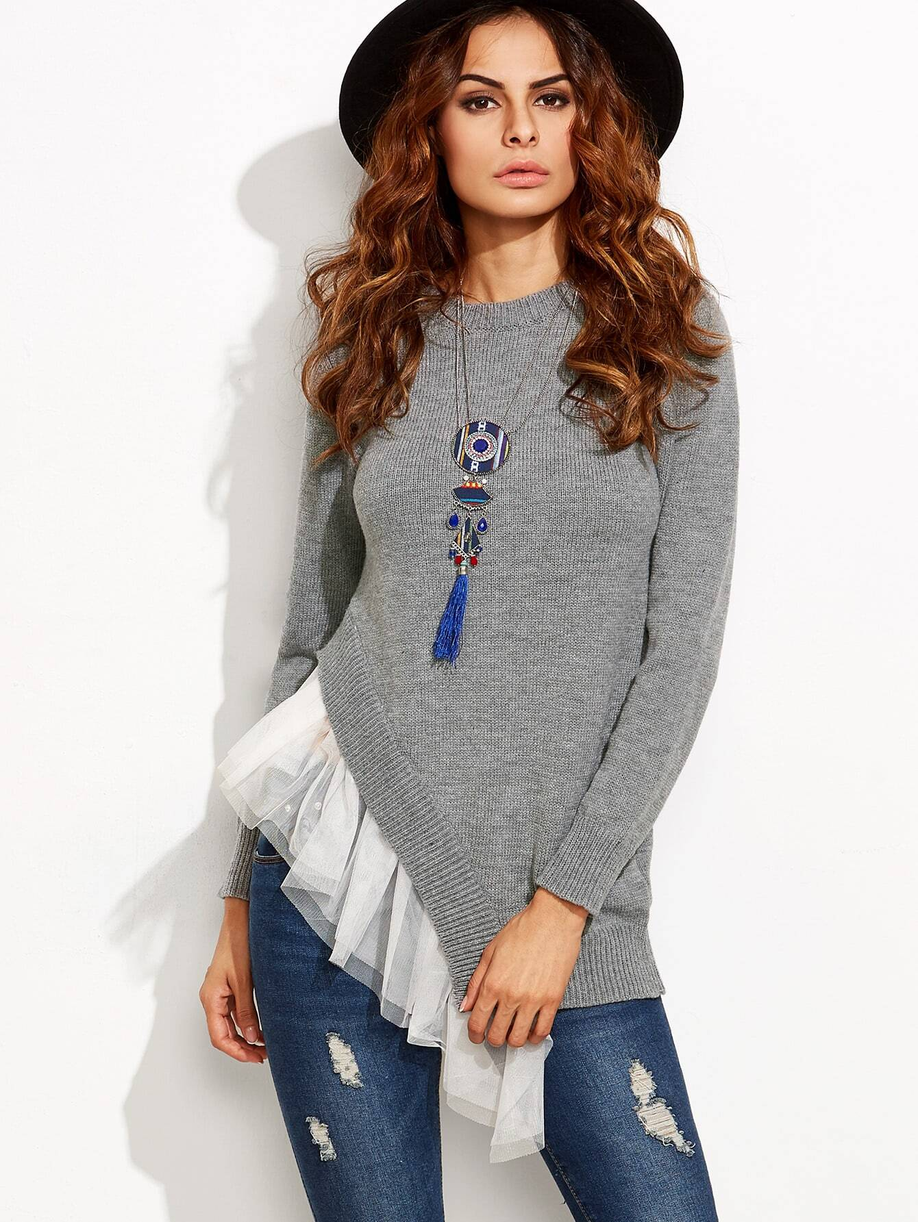 Grey Contrast Mesh Trim Asymmetric Pullover Sweater sweater160811706