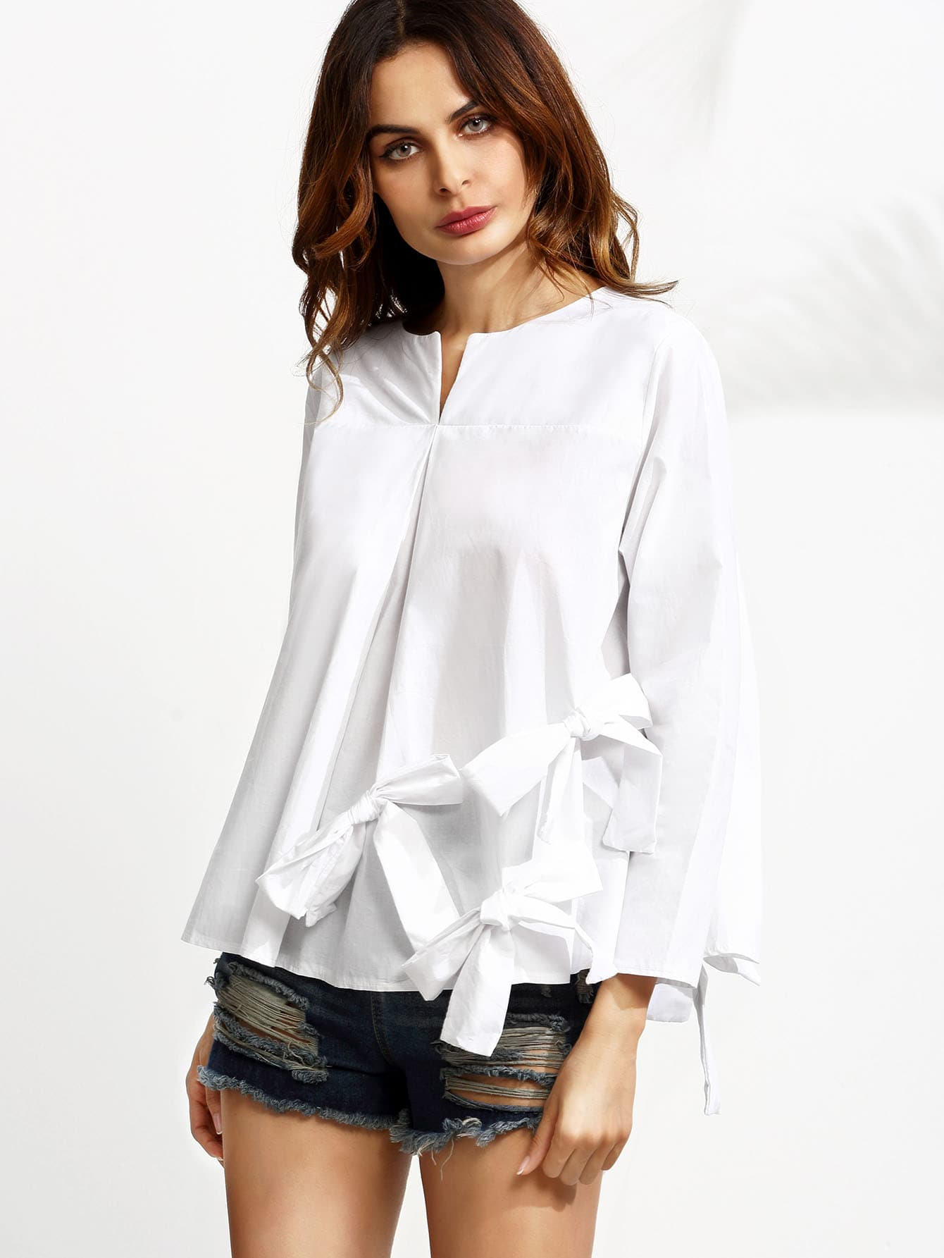 blouse manche longue avec n ud papillon blanc french shein sheinside. Black Bedroom Furniture Sets. Home Design Ideas