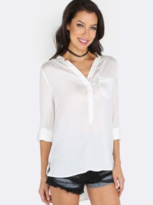 Cuffed Sleeve Button Down Blouse WHITE