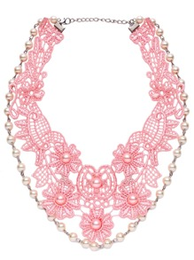 Pink Flower Lace Faux Pearl Embellished Statement Necklace