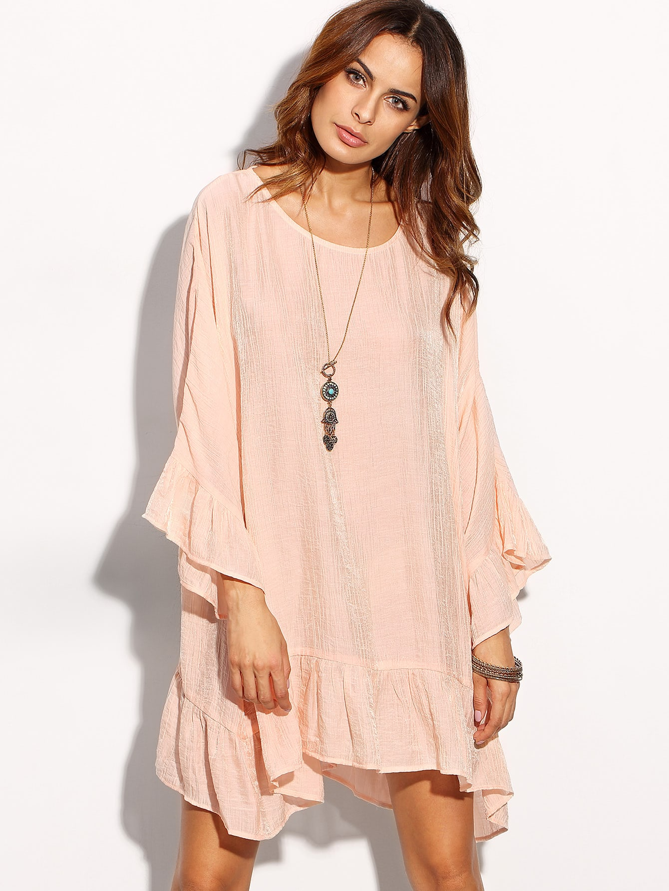 Pink Long Sleeve Ruffle Hem Shift Dress dress160803519
