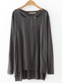 Grey Cut Out Long Sleeve Dip Hem Brushed T-shirt