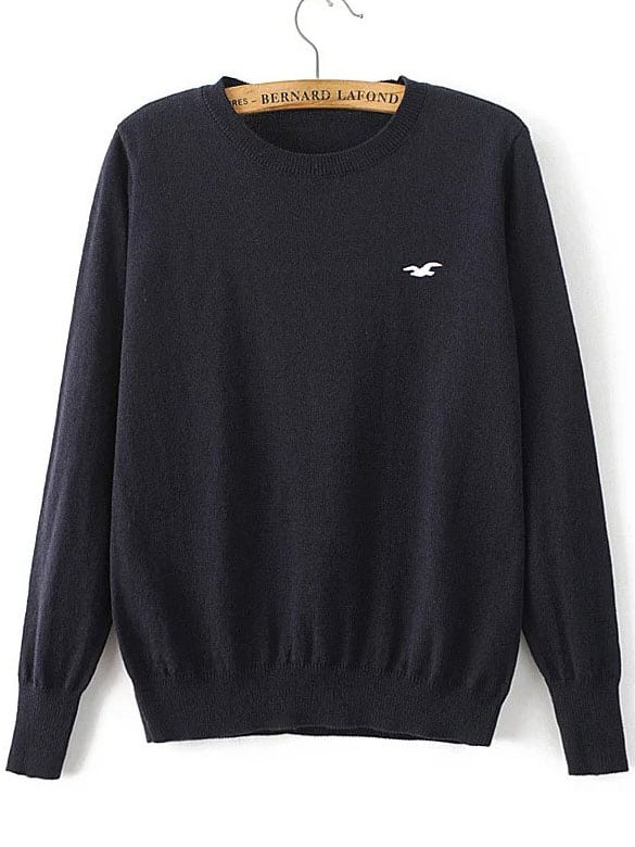 Navy Seagull Embroidered Ribbed Trim Sweater sweater160822210