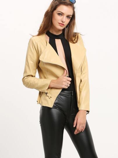 Apricot Long Sleeve Zipper Ruffle Jacket