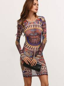 Robe moulante imprimé manche longue - multicolore
