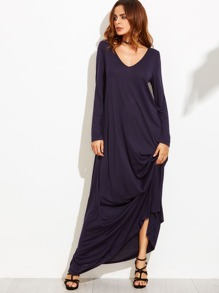 Navy Double V Neck Oversized Maxi Dress