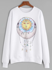 White Cartoon Print Drop Shoulder Sweatshirt