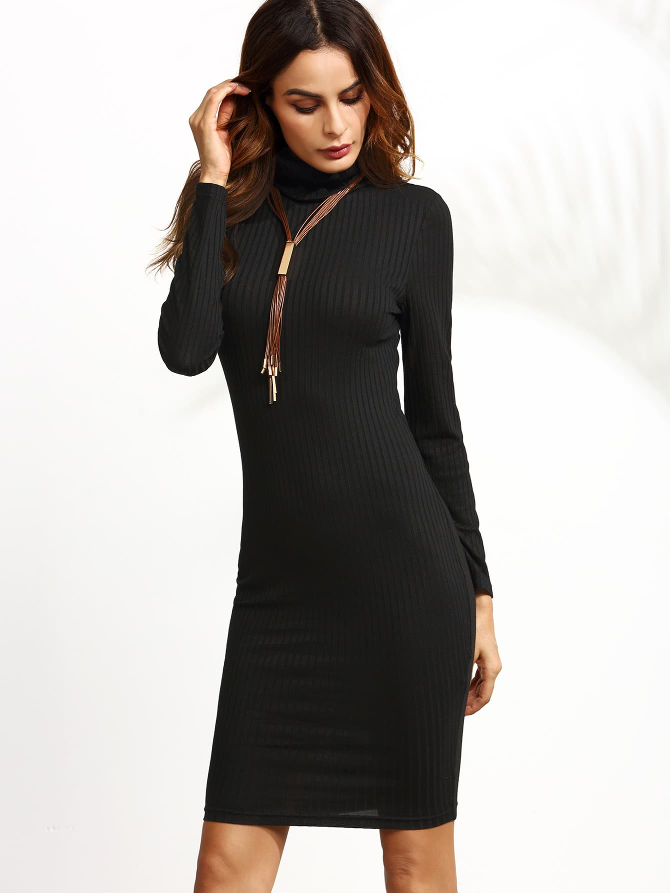 Black Turtleneck Long Sleeve Ribbed Pencil Dress dress160818701