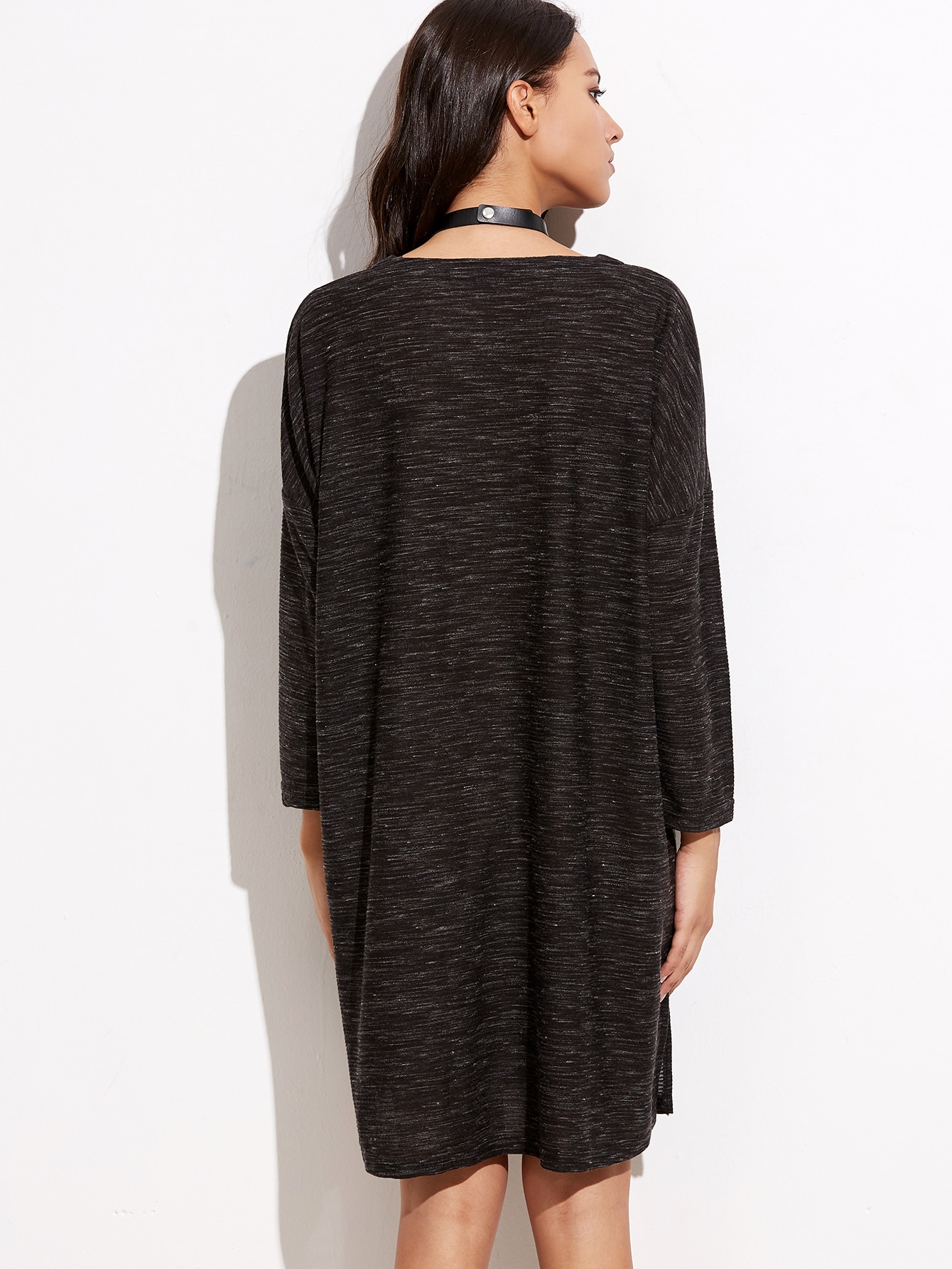 robe t shirt col v manche longue noir french shein sheinside. Black Bedroom Furniture Sets. Home Design Ideas